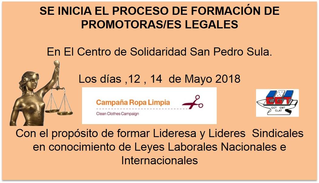 PROCESO DE FORMACIÓN DE PROMOTORAS/ES LEGALES