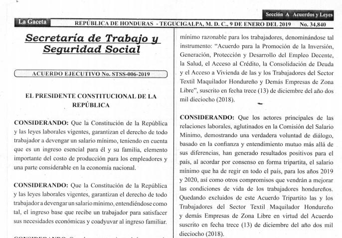 Acuerdo ejecutivo STSS-006-2019 Salario Mínimo (Gaceta)