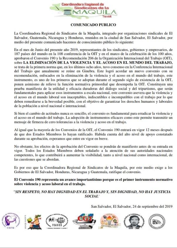 Pronunciamiento de la COORDINADORA REGIONAL DE SINDICATOS DE LA MAQUILA – C190