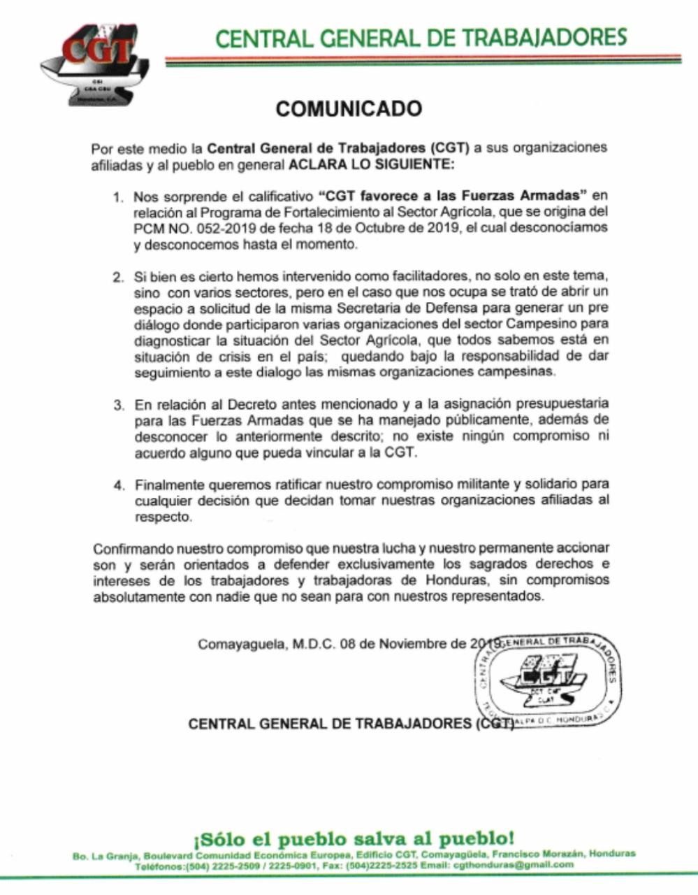 Pronunciamiento Público CGT (Central General de Trabajores/as)