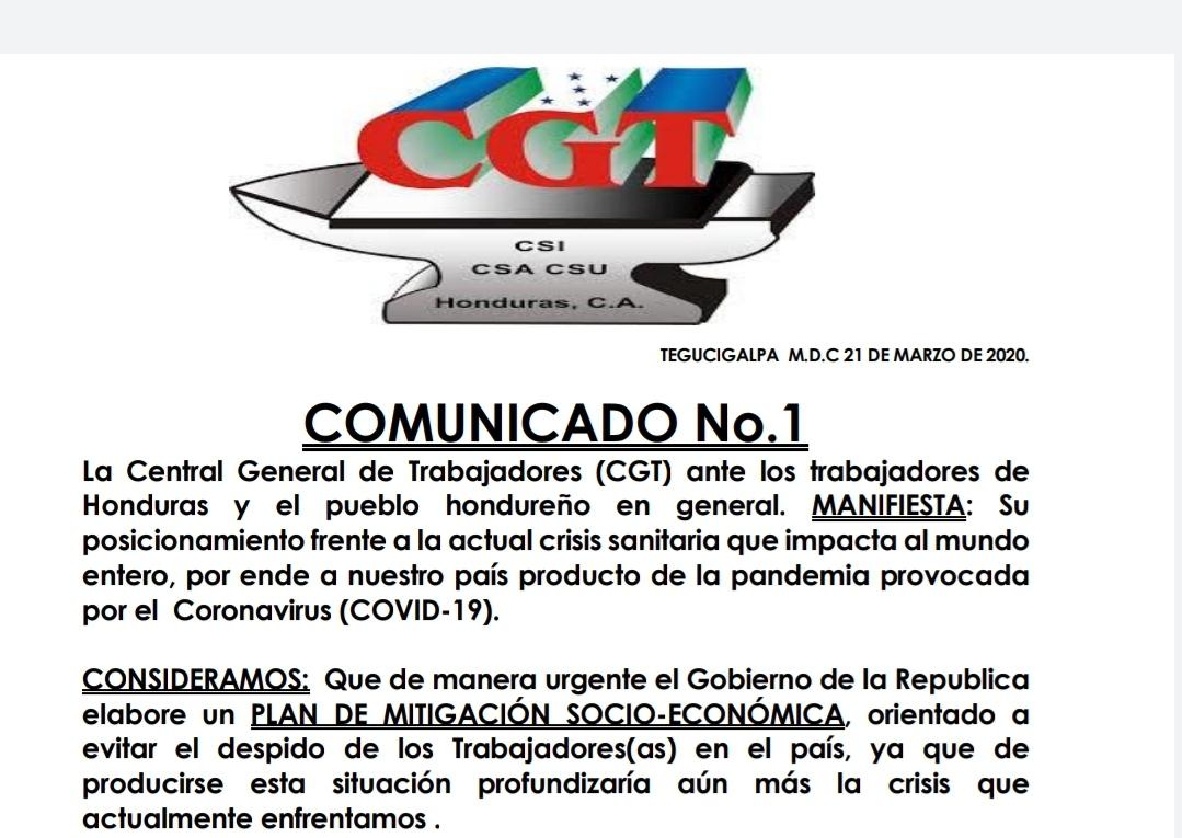 Comunido CGT Honduras frente a los efectos de COVID-19 o Coronavirus