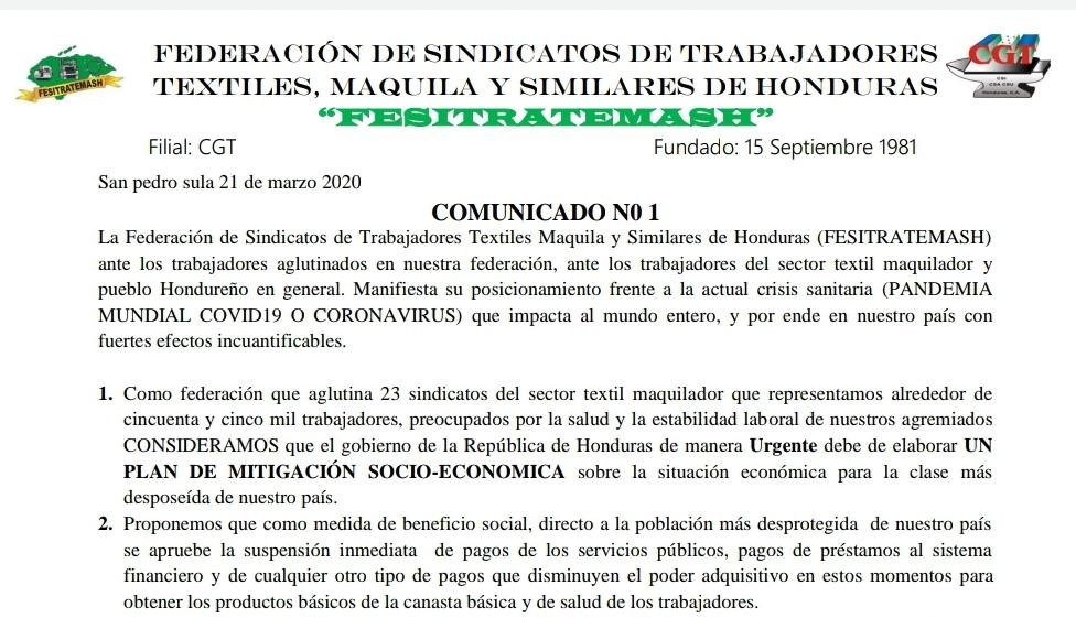 Comunicado de los sindicatos del sector Textil Maquillador ante los efectos del COVID-19