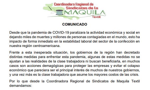 COMUNICADO: Red Regional de Sindicatos de la maquila de Honduras, Nicaragua, el Salvador y Guatemala sobre los efectos de COVID19