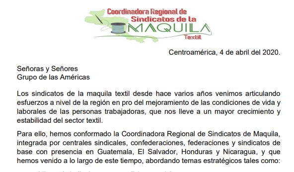 CARTA de la Red Regional de la maquila  a las marcas en Grupo de la Américas exigiendo solidaridad por los efectos negativos a los trabajadores del COVID19.
