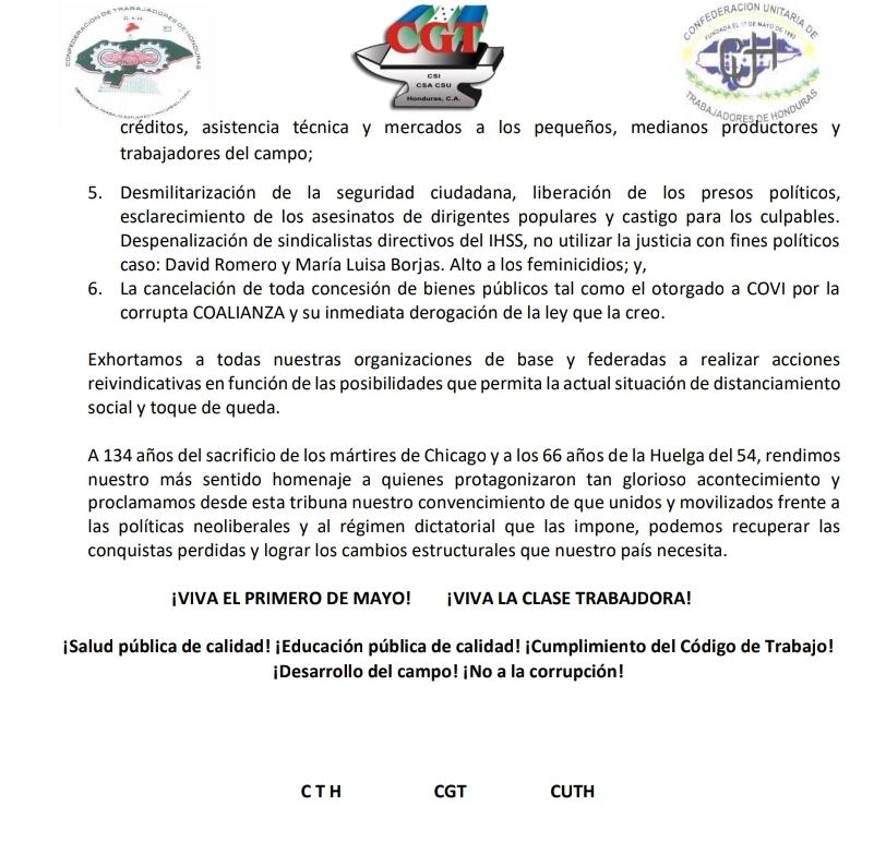 MANIFIESTO 1ro. DE MAYO 2020, 3 CENTRALES OBRERAS DE HONDURAS