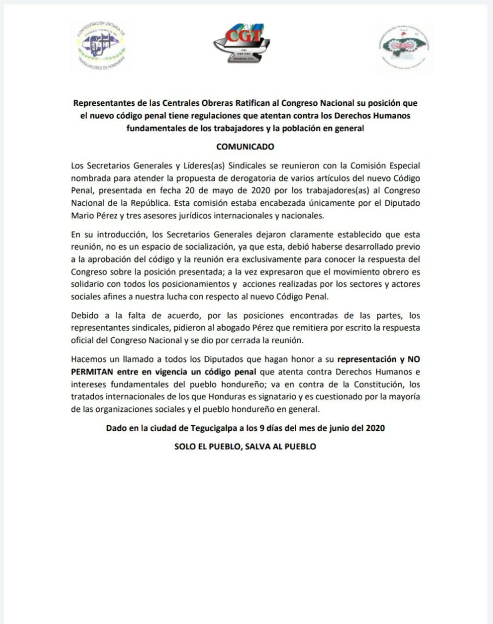 Centrales Obreras de Honduras le ratifican al Congreso Nacional su fuerte postura frente al nuevo código penal*