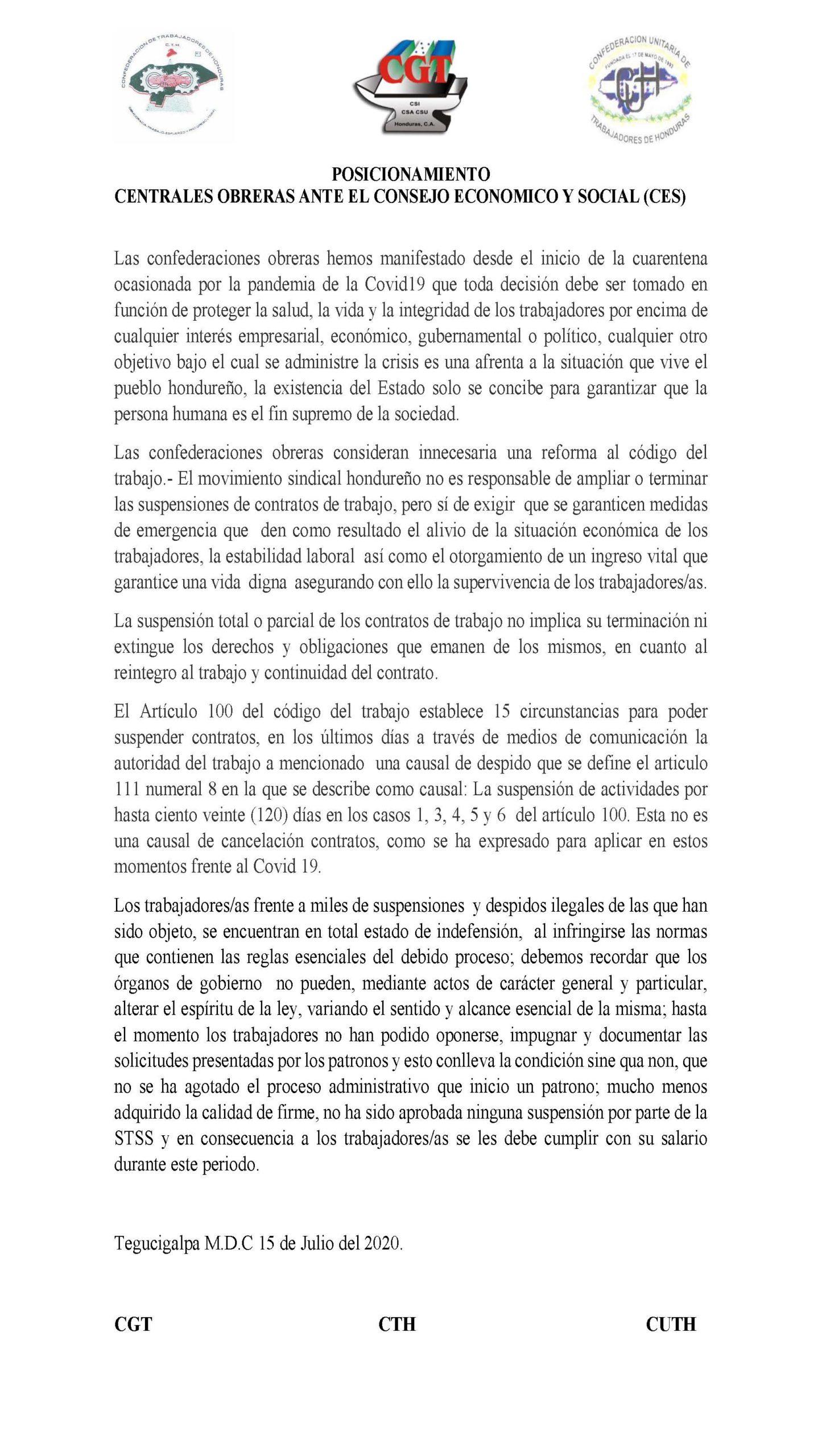 Posicion de las 3 centrales obreras frente al CES por extensión de suspensiones de labores