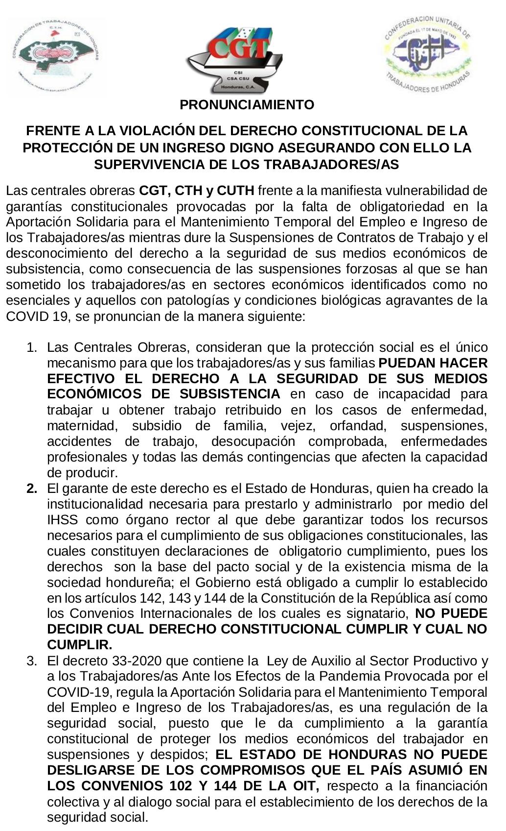 Posición de CGT, CUTH Y CTH ANTE EL GOBIERNO DE HONDURAS SOBRE DERECHOS A LA SEGURIDAD SOCIAL, INGRESOS SALARIALES DE LAS  LOS TRABAJADORES.