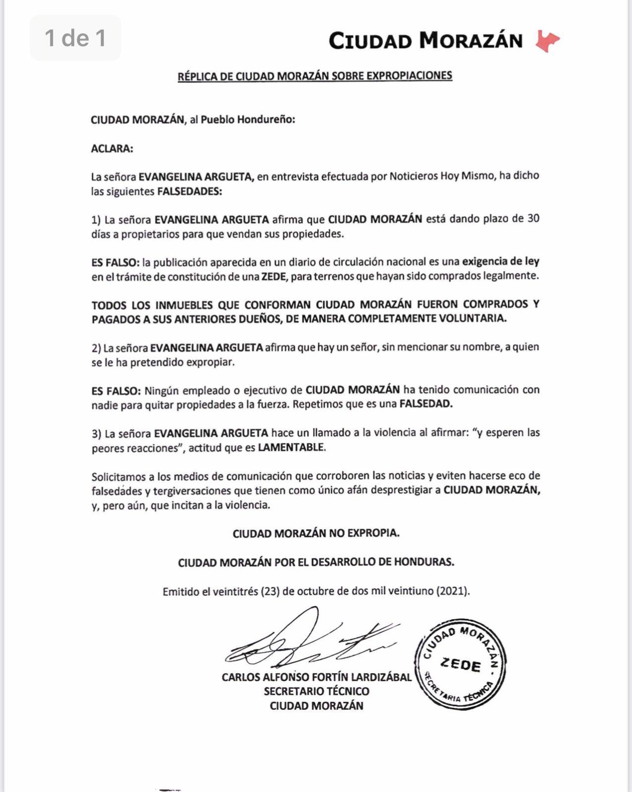Acusación del secretario técnico de las Zedes «Ciudad Morazàn» a Evangelina Argueta por defender las Zedes