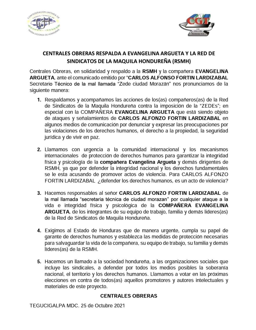 Respaldo de las Centrales Obreras a la compañera Evangelina Argueta